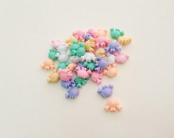 Crabs mix colors plastic pastel bead - 50 pcs