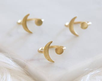 Valenties Day Gift, Brass Moon, Crescent Ring