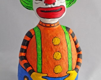 Large OOAK Roly Poly Circus Clown Halloween and Fall Decoration by Lori Platt The Pixie Knoll