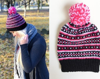 Pink White Black Fair Isle Knit Women's Hat - Christmas Gift For Her - Knit Beanie - Women's Beanie - Fair Isle - Knit Pompom Hat - Toque