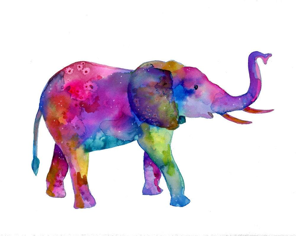 Célèbre Watercolor Elephant Print elephant painting colorful EE71