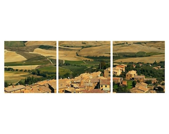 "TRIPTYCH Fine Art Color Photography of Tuscany - ""View Over Montalcino"""