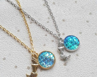 mermaid necklace scallop shell seaside gold silver scales dragon