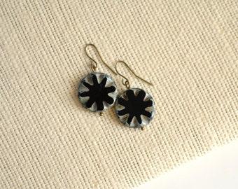 Black Antique Earrings, Czech Glass Beads, Brass, Neo Vintage Jewelry
