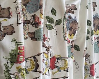 Vintage Everglaze Chintz Fabric. Goldilocks and the Three Bears.