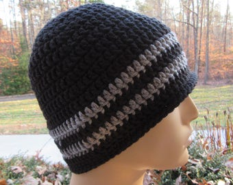 Skull Cap, Ski Hat, Crochet Skull Hat, Black Hat, Crochet Beanie, Winter Accessory, Gift for Him, Christmas Gift, Handmade, Crochet Ski Cap