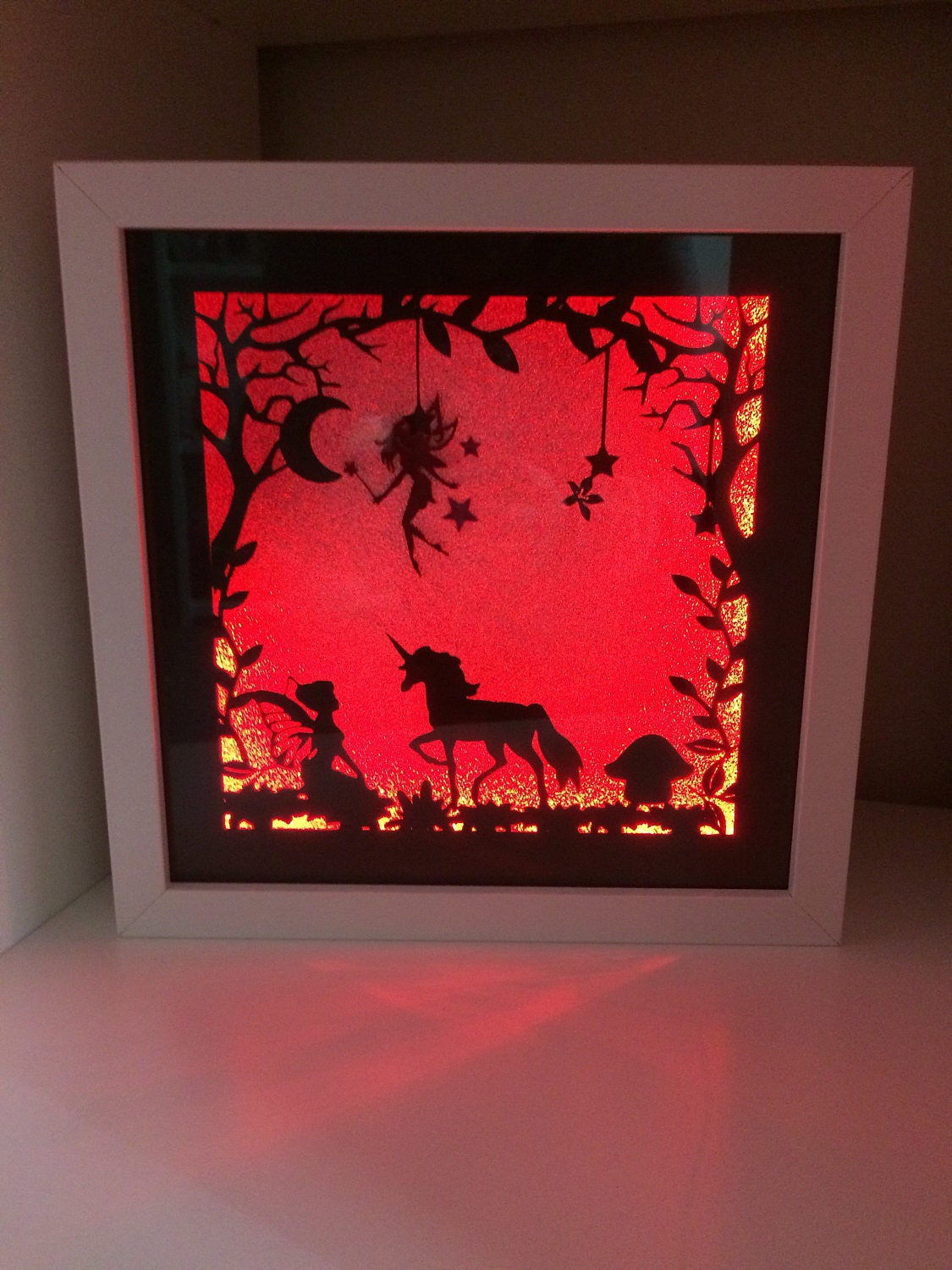 Fairy and unicorn paper cut colour changing light up frame light 3231 jeuxipadfo Images