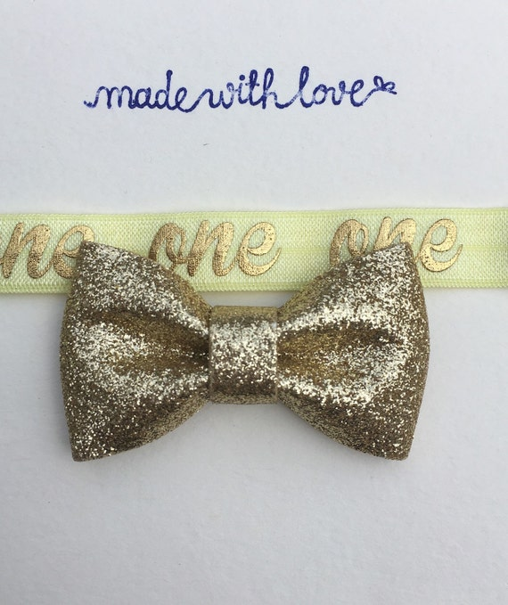 First Birthday Headband Gold Baby Headband Gold Bow
