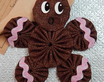 Gingerbread Yo Yo  Ornament with Pink & Silver Ric Rac - Gingerbread Cookie GB44