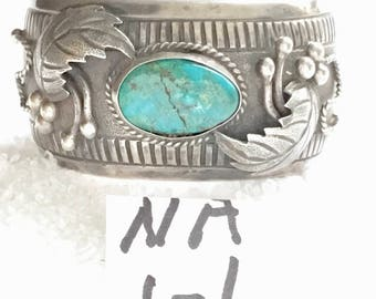 1-L Native American Sterling Turquoise Bracelet