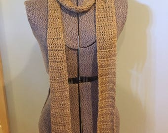 GOLD BOUTIQUE SCARF Extra Long Skinny Boho Trend Fashion Anytime Scarf Handmade Crocheted Glam