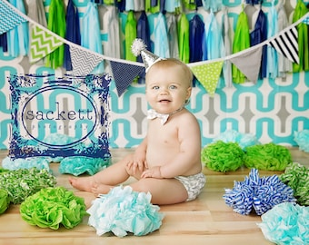 Fabric Bunting Fabric Banner Baby Boy Nursery Decor Party Decorations Baby Shower Birthday Lime Green Turquoise Navy Blue Gray Grey Chevron