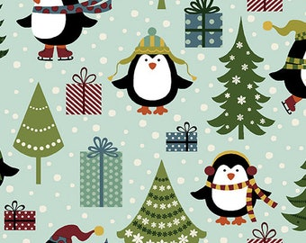 Christmas Fabric, Penguin Fabric, Christmas Penguins and Trees, by Benartex, 10041-84