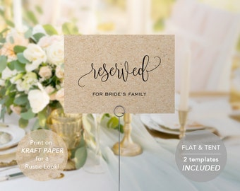 Reserved Table Tents Etsy - Reserved place card template