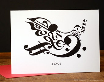 Treble clef card etsy music christmas card peace dove greeting card music teacher card music card musician gift music note card treble clef choir m4hsunfo