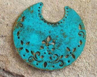 hand made TRELLIS green patina antique bronze crescent moons 8 pcs