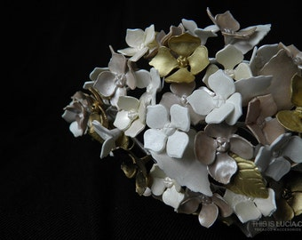 Teresa crown. Bridal tiara / wreath / crown / halo with porcelain pearl finish flowers, leaves and beads. Vintage wax crown style.
