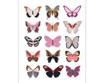 Pink Butterflies - Collage Illustration Art Print Poster - Wall Art Print