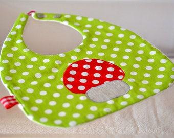 Green applique polka red mushroom baby bib
