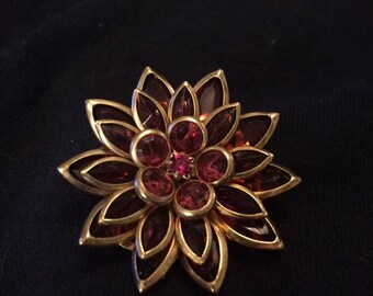 Vintage Avon Red Lotus brooch