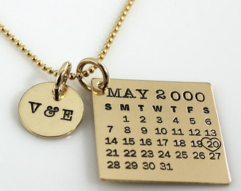 Personalized Calendar Necklace - hand stamped Mark Your Calendar gold filled necklace with 'You & Me' charm and