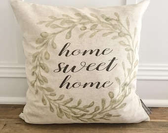 Watercolor Home Sweet Home Pillow Cover