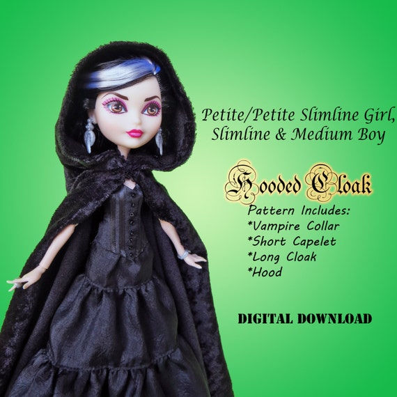 Hooded Cloak doll clothes sewing pattern for Petite Slimline