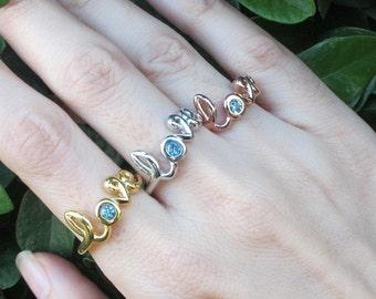 Rose Gold Love Ring- Boho Statement Ring- Blue Topaz Ring- BFF Love Ring- Stone Ring- Promise Ring for Her- December Birthstone Ring