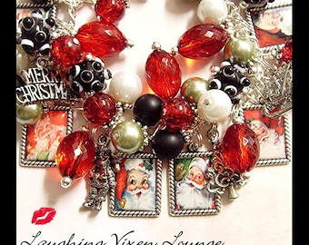 Christmas Jewelry - Christmas Bracelet - Christmas Necklace - Retro Santa Charm Bracelet - Santa Jewelry - Santa Bracelet