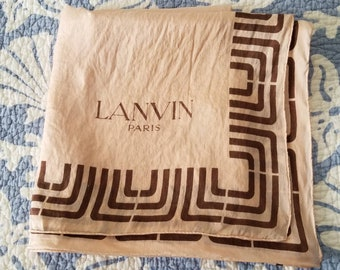 SALE - Vintage Lanvin silk scarf - large size with Lanvin logo boarder
