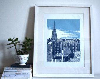 Original Linocut Print - Old Town, Edinburgh, Scotland