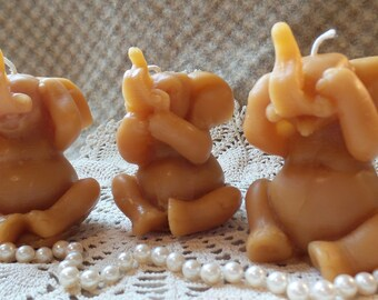 Beeswax Candle Shaped Hear/See /Speak No Evil Elephant Candles Set/3