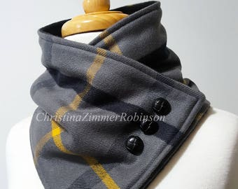 Charcoal Gray and Gold Plaid Fleece Lined Neck Warmer Snap Scarf, Black Buttons, Scarves, Neckwarmer, Neck Wrap, Collar, Snood