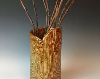 Pottery vase, rustic vase, faux boise wood grain vase, wood texture, lumberjack vase