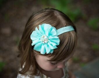 Aqua Flower Headband, Aqua Baby Headband, Newborn Headband, Newborn Photo Prop, Baby Shower Gift, Adult Headband, Flower Girl Headband, Teen