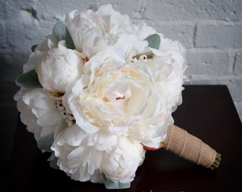 Ivory Peony Burlap Wedding Bouquet - Peony Wedding Bouquet with Lamb's Ear and Berries