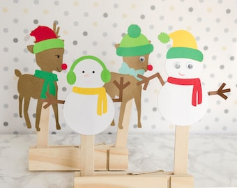 Winter Christmas Stocking Stuffer Craft Kit Rudolph the red nose Reindeer and Frosty the Snowman for Kids Set of 6 Puppets