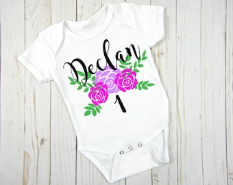 First Birthday Onesie®- First Birthday Outfit- Personalized First Birthday Onesie- First Birthday Shirt- Baby Girl Outfit -Floral First Bday
