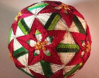 Japanese Temari Ball Pointsetta Christmas