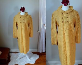 Jahrgang Mabel Dress / / 1950 Schattierungen von gelb gewebt Wollkleid mit eingefasst Bib Knopfleiste am Ausschnitt und Peter-Pan-Kragen Frau Größe L