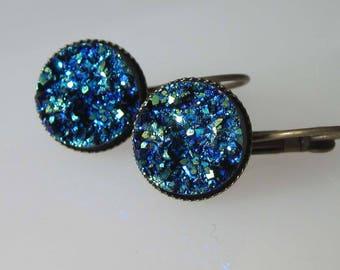 Blue Druzy Earrings, Dark Blue, Minimalist, Dangle Earring, Antiqued Brass Leverback, Crystal Earrings
