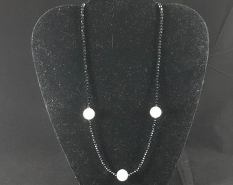 Black Onyx Necklace with 3 Large Pearls