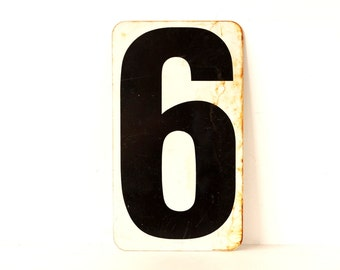 """Vintage Metal Number 6 / 7 Double-Sided Sign / Gas Station Sign in White and Black (12-3/4"""" x 7-1/4"""") - Industrial Home Decor, Man Cave"""
