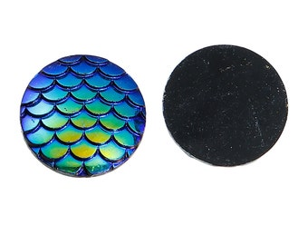 Mermaid Scale Cabochons 20mm Cabochons Blue Scales Round Cabochons Dragon Scale Cabochons Flat Back Embellishments 4 pieces