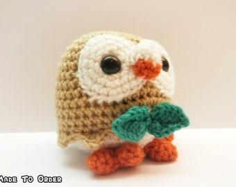 Crochet Rowlet Inspired Chibi Pokemon Starter