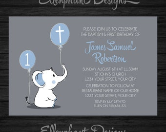 Baptism and first birthday invitation 1st joint baptism and first birthday invitation 1st joint christening elephant boy filmwisefo