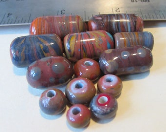 Assorted lampwork fused glass Beads