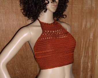 Hand Crochet Halter Top , Crochet Halter Top, Cropped Top, Festival, Beach Cover-up, Hippie Chic, in Burnt Orange