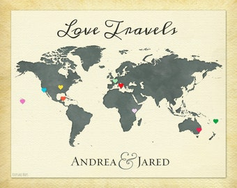 World Map of Our Travels, Personalized Couple Gift, Anniversary Gift Idea, Travel Map Print, Wanderlust Print, Love Travels Print, 6b