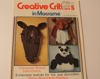 Macrame Panda Pattern Horse Fox More in 3D 1977 Creative Critters in Macrame Knotting Directions 7210